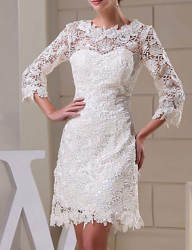 cheap Wedding Dresses-Sheath / Column Jewel Neck Knee Length Lace Long Sleeve Formal Little White Dress Wedding Dresses with Appliques 2020