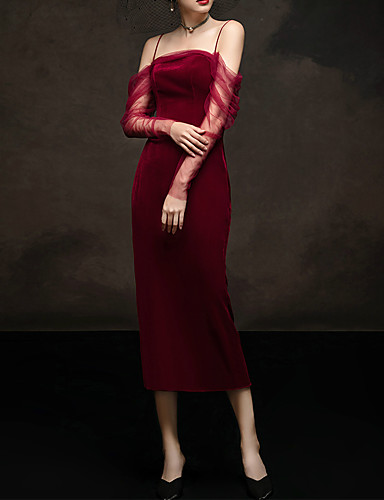cheap Special Occasion Dresses-Sheath / Column Convertible Red Engagement Formal Evening Dress Spaghetti Strap Sleeveless Tea Length Tulle Velvet with Sash / Ribbon Ruched 2020