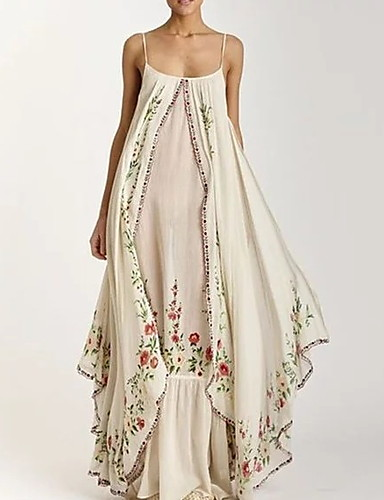 cheap Boho Dresses-Women's Strap Dress Maxi long Dress - Sleeveless Floral Print Summer Beach Boho Holiday Vacation 2020 White Purple Light Blue S M L XL XXL XXXL