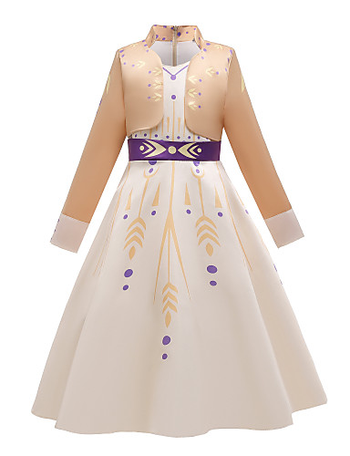 cheap Movie & TV Theme Costumes-Princess Anna Dress Flower Girl Dress Girls' Movie Cosplay Cosplay Costume Party Purple (With Accessories) / Beige Dress Polyster