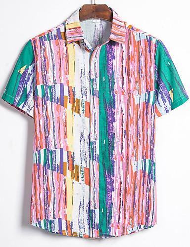 abordables Chemise hawaïen-Homme Soirée Chemise Fleurie Géométrique Bloc de Couleur Imprimé Manches Courtes Hauts Tropique Bleu Rouge Jaune