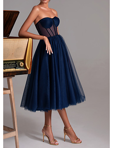 cheap Cocktail Dresses-A-Line Sexy Cocktail Party Prom Dress Sweetheart Neckline Sleeveless Tea Length Polyester with Pleats 2020