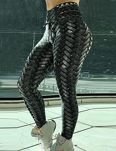 povoljno Tajice-Žene Osnovni Legging Geometrijski oblici Print Medium Waist Crn Bijela S M L / Slim