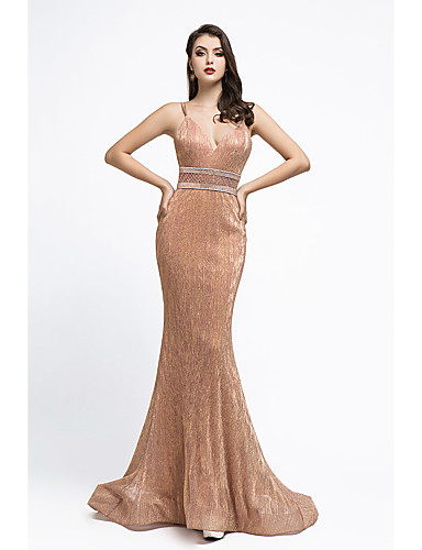 cheap Evening Dresses-Mermaid / Trumpet Beautiful Back Sexy Engagement Formal Evening Dress Spaghetti Strap Sleeveless Court Train Spandex with Sash / Ribbon Criss Cross Beading 2020