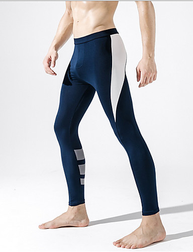 cheap Men in home-Compression Gym Men's Basic Legging - Solid Colored, Print Mid Waist Yellow Green Royal Blue M L XL