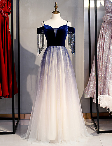 cheap Special Occasion Dresses-A-Line Glittering Blue Prom Formal Evening Dress Off Shoulder Short Sleeve Floor Length Tulle Velvet with Crystals Sequin 2020