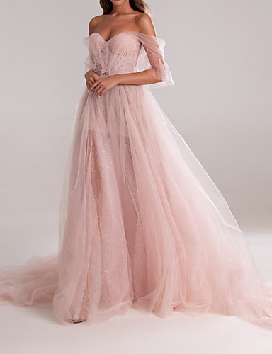 cheap Evening Dresses-A-Line Elegant Engagement Formal Evening Dress Sweetheart Neckline Sleeveless Court Train Tulle with Bow(s) Pleats 2020
