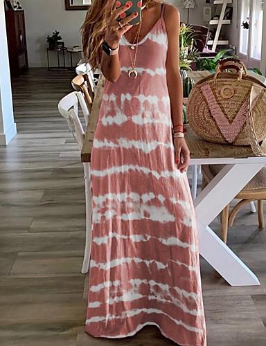 cheap Print Dresses-Women's Strap Dress Maxi long Dress - Sleeveless Tie Dye Summer Casual Vacation Beach Blue Purple Blushing Pink Wine Khaki Gray Light Blue S M L XL XXL XXXL XXXXL XXXXXL