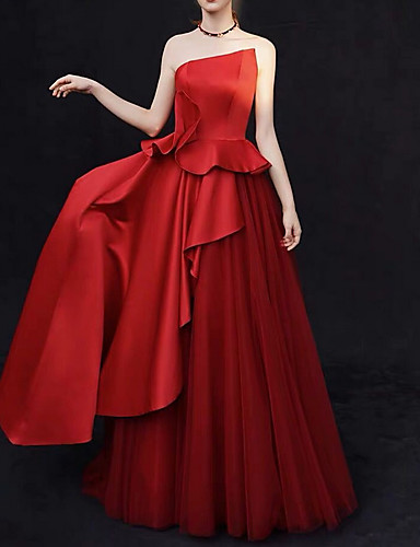 cheap Wedding Dresses-A-Line Strapless Sweep / Brush Train Satin Strapless Sexy Plus Size / Red / Modern Wedding Dresses with Ruffles / Draping 2020