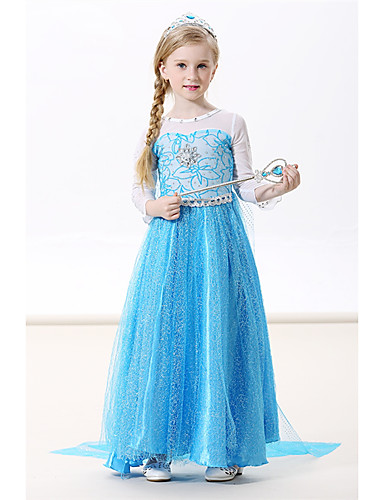 cheap Movie & TV Theme Costumes-Princess Elsa Dress Cosplay Costume Masquerade Girls' Movie Cosplay A-Line Slip Cosplay Halloween Green / Blue / Blue (With Accessories) Dress Halloween Carnival Masquerade Flannel