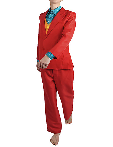 cheap Movie & TV Theme Costumes-Joker Cosplay Costume Outfits Men's Movie Cosplay Suits RedYellow Vest Shirt Top Halloween Masquerade Terylene / Pants / Pants