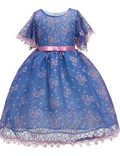 cheap Pre Sale-Kids Toddler Girls' Basic Cute Solid Colored Sequins Short Sleeve Knee-length Dress Blushing Pink