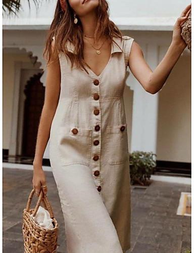 cheap Casual Dresses-Women's Plus Size Dress - Sleeveless Button Summer V Neck Casual Vacation 2020 Black Blue Red Fuchsia Beige S M L XL XXL XXXL XXXXL XXXXXL