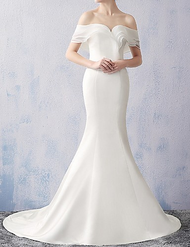 cheap Wedding Dresses-Mermaid / Trumpet Off Shoulder Sweep / Brush Train Chiffon Short Sleeve Beach Wedding Dresses with Ruched 2020