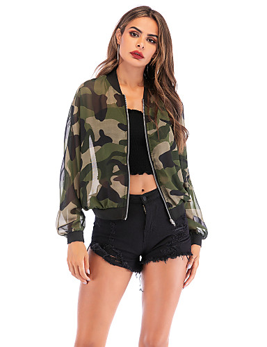Women's Daily Basic Summer / Spring & Summer Regular Jacket, Camo / Camouflage Round Neck Long Sleeve Polyester Army Green