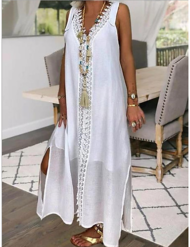 cheap Boho Dresses-Women's Maxi White Dress Shift Solid Color V Neck S M Loose