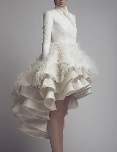 cheap Wedding Dresses-A-Line High Neck Asymmetrical Satin Long Sleeve Formal Little White Dress Wedding Dresses with Feathers / Fur 2020