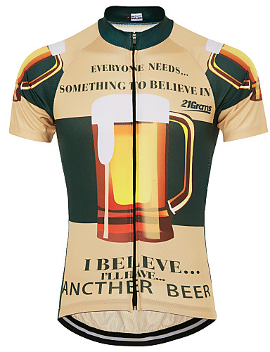 cheap Cycling-21Grams Men's Short Sleeve Cycling Jersey Summer Yellow Novelty Funny Oktoberfest Beer Bike Top Mountain Bike MTB Road Bike Cycling UV Resistant Quick Dry Moisture Wicking Sports Clothing Apparel