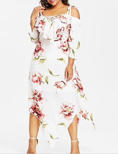 cheap Plus Size Dresses-Women's Shift Dress Midi Dress - 3/4 Length Sleeve Floral Geometric Lace up Patchwork Print V Neck Plus Size Punk & Gothic Boho White Black XL XXL XXXL XXXXL XXXXXL