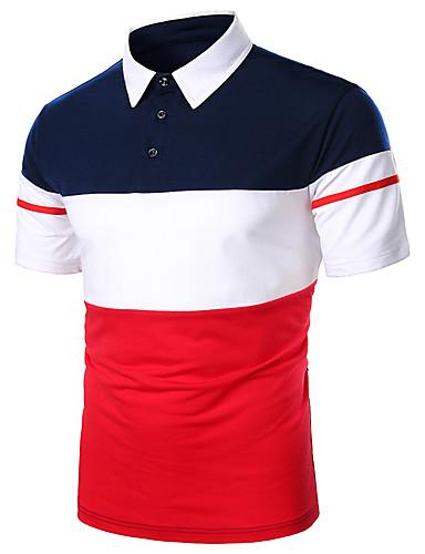voordelige Herenpolo's-Heren Gestreept Zwart & Rood Patchwork Polo Standaard Dagelijks Werk Overhemdkraag Rood / Marineblauw / Korte mouw