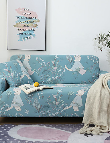 cheap Sofa Cover-Cartoon Rabbit Floral Print Dustproof All-powerful Slipcovers Stretch Sofa Cover Super Soft Fabric Couch Cover with One Free Pillow Case