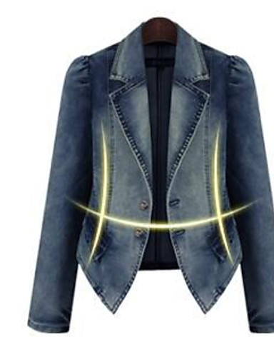 cheap Women's Blazers & Jackets-Women's Daily Regular Jacket, Solid Colored Peaked Lapel Long Sleeve Polyester Blue