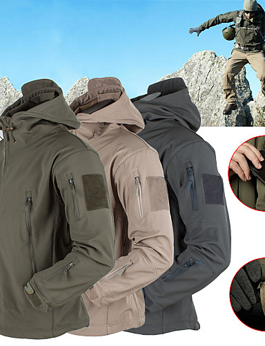 cheap Softshell, Fleece & Hiking Jackets-Men's Hiking Softshell Jacket Hiking Jacket Winter Outdoor Thermal / Warm Waterproof Windproof Fleece Lining Hoodie Winter Jacket Top Fleece Softshell Camping / Hiking Hunting Fishing Dark Grey