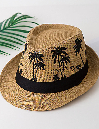 cheap Protective Equipment-Unisex Basic Straw Straw Hat-Floral All Seasons White Camel Beige