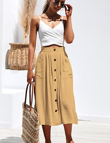 cheap Women's Skirts-Women's Daily Wear Basic A Line Skirts - Solid Colored Yellow Blushing Pink Army Green S M L