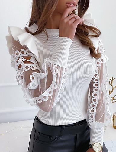 baratos Suéteres de Mulher-Mulheres Sólido Renda Frufru Bordado Camiseta Diário Branco / Preto
