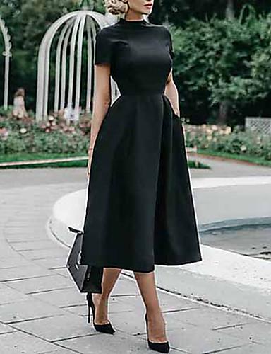 رخيصةأون فساتين فينتيدج قديمة-فستان نسائي متموج أنيق ميدي نحيل لون سادة