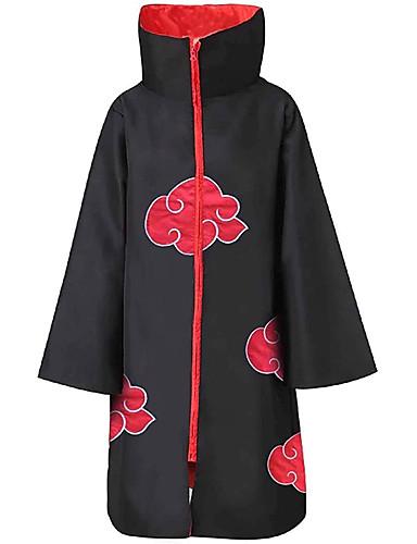 billiga Anime-cosplay-Inspirerad av Naruto Akatsuki Animé Cosplay-kostymer Japanska Cosplay Toppar / Bottoms Tryck Långärmad Kappa Till Herr