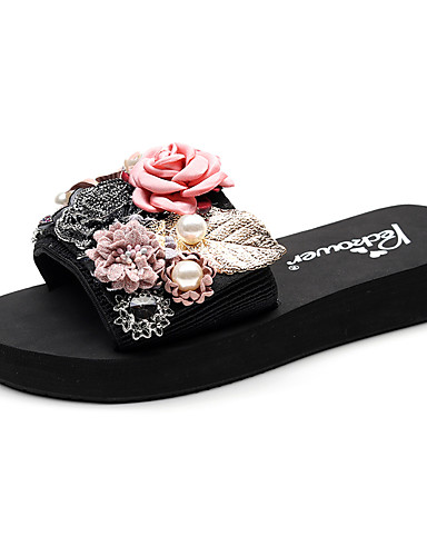 cheap Fashion in Home-Women's Slippers & Flip-Flops Boho / Beach Flat Heel Open Toe Imitation Pearl / Satin Flower / Stitching Lace Polyester Classic / Casual Walking Shoes Summer Red / Pink / Light Grey / Party & Evening