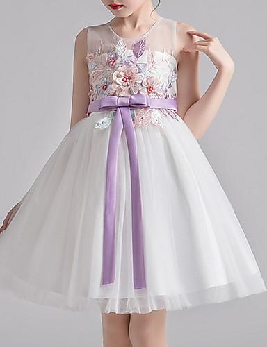 cheap Pre Sale-Kids Girls' Floral Color Block Dress White