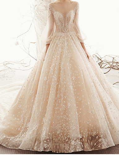 cheap Wedding Dresses-A-Line Jewel Neck Watteau Train Lace / Tulle 3/4 Length Sleeve Formal Wedding Dresses with 2020
