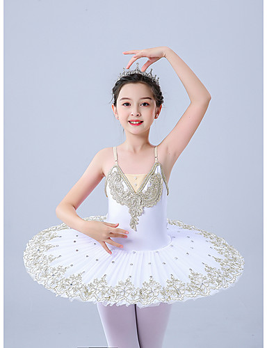 cheap Ballet Dancewear-Kids' Dancewear Gymnastics Ballet Leotard / Onesie Scattered Bead Floral Motif Style Pleats Pearls Girls' Performance Theme Party Sleeveless Tulle Polyester
