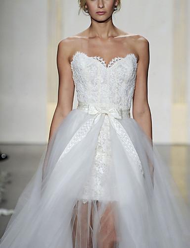 cheap Wedding Dresses-Sheath / Column Sweetheart Neckline Short / Mini Lace Sleeveless Formal Detachable Wedding Dresses with Bow(s) / Cascading Ruffles 2020