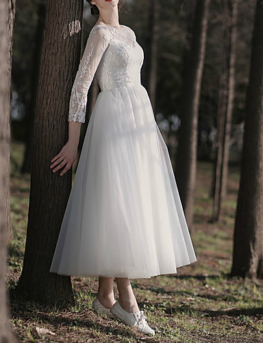 cheap Wedding Dresses-A-Line Jewel Neck Ankle Length Lace / Tulle Long Sleeve Simple Little White Dress / Elegant / Illusion Sleeve Wedding Dresses with Lace / Buttons / Pearls 2020