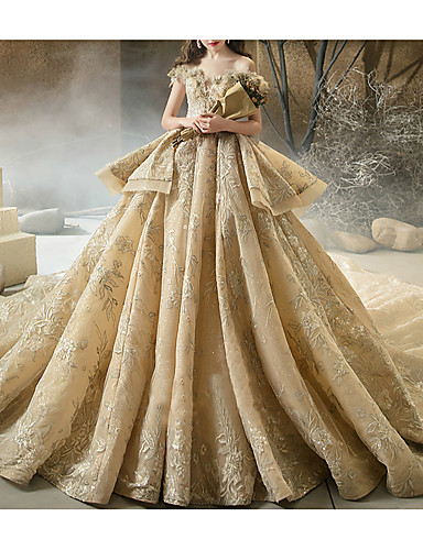 cheap Wedding Dresses-Ball Gown Off Shoulder Watteau Train Lace Short Sleeve Formal Wedding Dress in Color Wedding Dresses with Lace Insert 2020