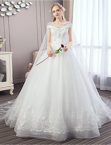 cheap Wedding Dresses-Ball Gown Off Shoulder Watteau Train Polyester / Lace / Tulle Short Sleeve Romantic Wedding Dresses with Crystals 2020