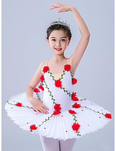 cheap Ballet Dancewear-Kids' Dancewear Gymnastics Ballet Leotard / Onesie Pleats Embroidery Crystals / Rhinestones Girls' Performance Theme Party Sleeveless Tulle Polyester