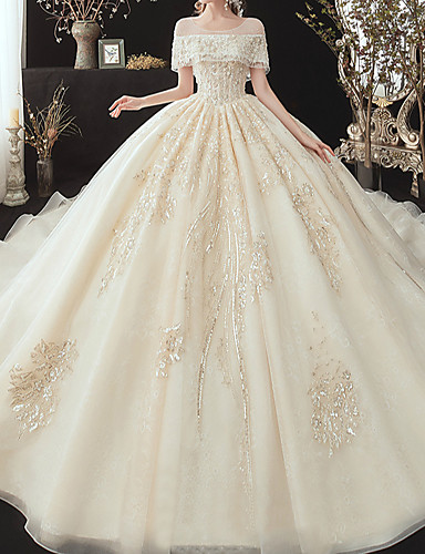 cheap Wedding Dresses-Ball Gown Off Shoulder Watteau Train Lace / Tulle / Sequined Short Sleeve Formal Wedding Dress in Color / Plus Size Wedding Dresses with Lace / Pearls / Lace Insert 2020