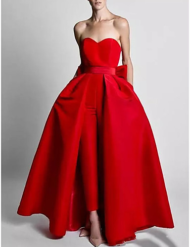 cheap Evening Dresses-Two Piece Jumpsuits Elegant Wedding Guest Formal Evening Dress Sweetheart Neckline Sleeveless Floor Length Polyester with Bow(s) Overskirt 2020