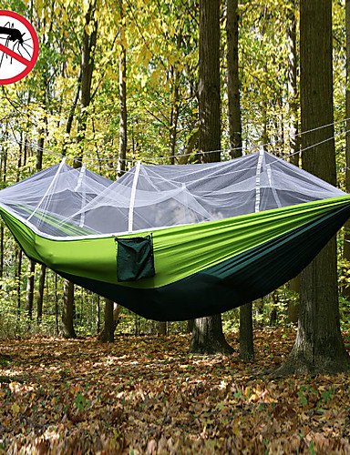 cheap Weekly Deal-Camping Hammock with Mosquito Net Double Hammock Outdoor Ultra Light Portable Breathable Anti-Mosquito Parachute Nylon with Carabiners and Tree Straps 2 person Camping Hiking Hunting Army Green