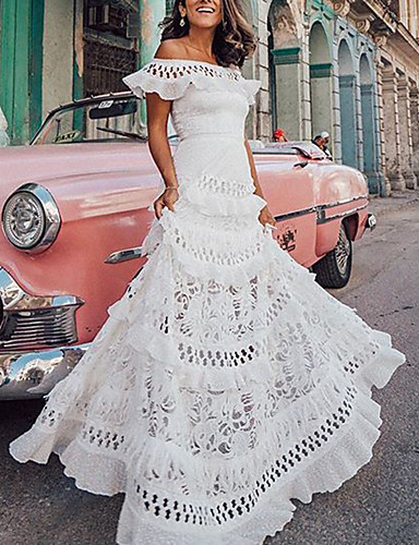 cheap Boho Dresses-Women's Maxi A Line Dress - Short Sleeves Solid Color Lace Ruffle Spring & Summer Off Shoulder Holiday Vacation Beach White S M L XL