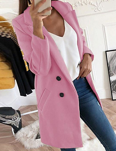 Women's Daily Long Coat, Solid Colored Shirt Collar Long Sleeve Polyester Yellow / Blushing Pink / Red