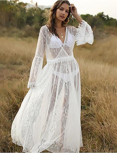 tanie Dla młodych kobiet-Damskie Maxi Biały Sukienka Swing Jednokolorowe Głęboki dekolt w serek S M