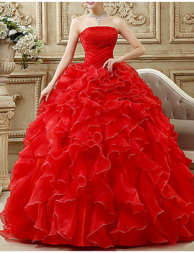 cheap Special Occasion Dresses-Ball Gown Luxurious Prom Formal Evening Dress Strapless Sleeveless Floor Length Chiffon Polyester with Beading Tier 2020