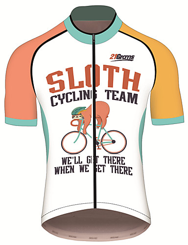 cheap Cycling Jerseys-21Grams Men's Short Sleeve Cycling Jersey Polyester Spandex Orange+White Animal Sloth Bike Jersey Top Mountain Bike MTB Road Bike Cycling UV Resistant Breathable Quick Dry Sports Clothing Apparel