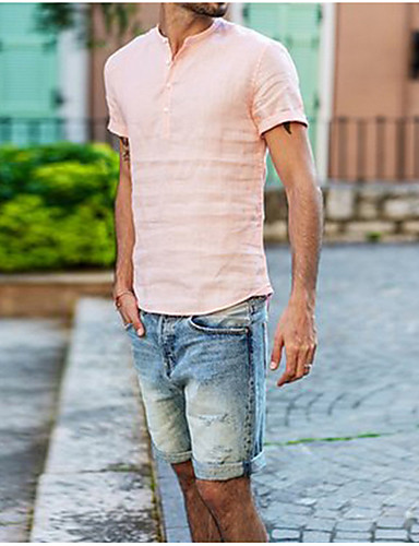 cheap Henley Shirts-Men's Daily T-shirt Solid Colored Short Sleeve Tops V Neck White Black Blushing Pink